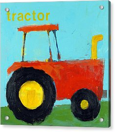 Red Tractor Acrylic Print by Laurie Breen