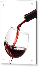 Red Wine Poured Into Wineglass Acrylic Print by Dustin K Ryan