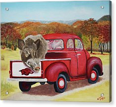 Ridin' With Razorbacks 2 Acrylic Print by Belinda Nagy