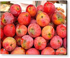 Ripe Red Mangoes For Sale Acrylic Print by Yali Shi