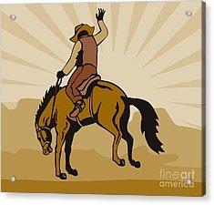 Rodeo Cowboy Bucking Bronco Acrylic Print by Aloysius Patrimonio