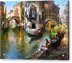 Romance In Venice Acrylic Print by Ylli Haruni