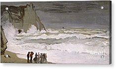 Rough Sea At Etretat Acrylic Print by Claude Monet