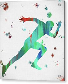 Running Man Paint Splatter Acrylic Print by Dan Sproul