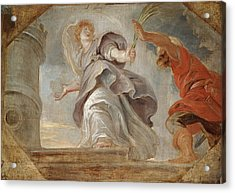 Saint Barbara Fleeing From Her Father Acrylic Print by Peter Paul Rubens