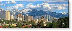 Salt Lake City Utah Skyline Acrylic Print by Utah Images