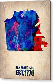 San Francisco Watercolor Map Acrylic Print by Naxart Studio