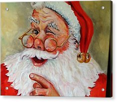 Santa Winking II Acrylic Print by Sheila Kinsey