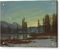 Snow In The Rockies Acrylic Print by Albert Bierstadt