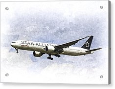 Star Alliance Boeing 777 Acrylic Print by David Pyatt