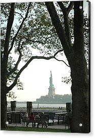 Statue Of Liberty From Ellis Island Acrylic Print by Frank Mari