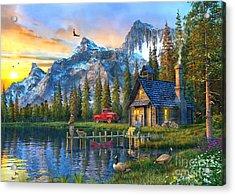 Sunset At Log Cabin Acrylic Print by Dominic Davison