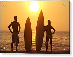 Surfer Silhouettes Acrylic Print by Larry Dale Gordon - Printscapes