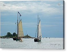 Tall Ships Sailing I Acrylic Print by Suzanne Gaff