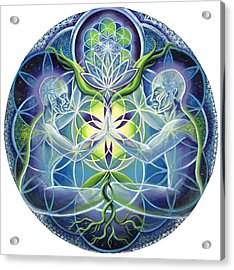 The Flowering Of Divine Unification Acrylic Print by Morgan  Mandala Manley