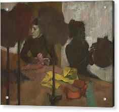 The Milliners Acrylic Print by Edgar Degas