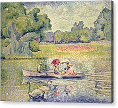 The Promenade In The Bois De Boulogne Acrylic Print by Henri-Edmond Cross