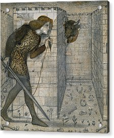 Theseus And The Minotaur In The Labyrinth Acrylic Print by Edward Burne-Jones