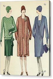 Three Flappers Modelling French Designer Outfits, 1928 Acrylic Print by American School