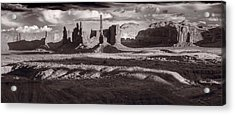 Totem Pole And Yei Bi Chei Monument Valley Acrylic Print by Steve Gadomski