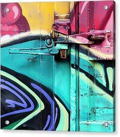 Train Art Abstract Acrylic Print by Carol Leigh