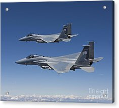 Two F-15 Eagles Conduct Air-to-air Acrylic Print by HIGH-G Productions