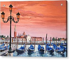 Venice Gondolas Acrylic Print by David Lloyd Glover