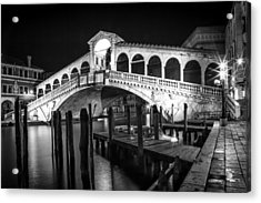Venice Rialto Bridge At Night Black And White Acrylic Print by Melanie Viola
