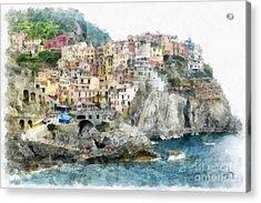 Manarola Italy In The Cinque Terra Acrylic Print by Edward Fielding