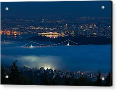 View Of Lions Gate Bridge And Vancouver In The Fog Acrylic Print by Michael Russell