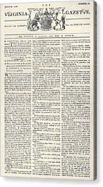 Virginia Gazette, 1776 Acrylic Print by Granger