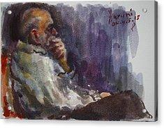 Man Watching Tv  Acrylic Print by Ylli Haruni