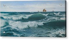 Waves Breaking In Shallow Waters Acrylic Print by Celestial Images