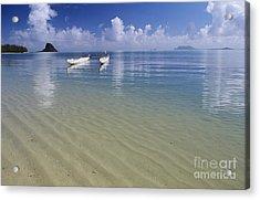 White Double Hull Canoe Acrylic Print by Joss - Printscapes