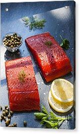 Wild Salmon Steaks Acrylic Print by Elena Elisseeva