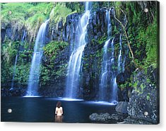 Woman At Waterfall Acrylic Print by Dave Fleetham - Printscapes