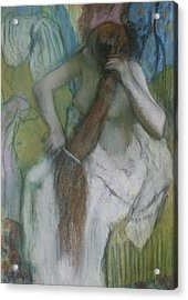 Woman Combing Her Hair Acrylic Print by Edgar Degas