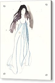 Woman With Dress From Chloe Acrylic Print by Toril Baekmark