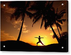 Yoga At Sunset Acrylic Print by Ron Dahlquist - Printscapes
