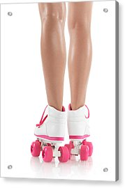 Young Woman Wearing Roller Derby Skates Acrylic Print by Oleksiy Maksymenko