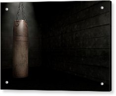 Vintage Leather Punching Bag Acrylic Print by Allan Swart