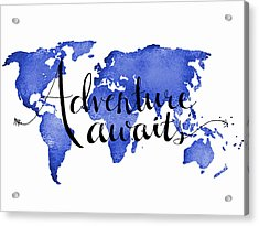 12x16 Adventure Awaits Blue Map Art Acrylic Print by Michelle Eshleman