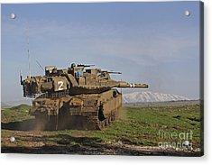 An Israel Defense Force Merkava Mark Iv Acrylic Print by Ofer Zidon