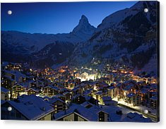 High Angle View Of Buildings Lit Acrylic Print by Panoramic Images