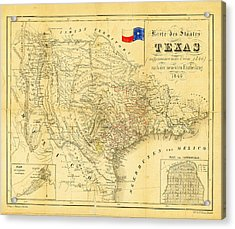 1849 Texas Map Acrylic Print by Digital Reproductions