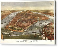 1870 New York Map Acrylic Print by Dan Sproul