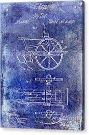 1870 Plow Patent Blue Acrylic Print by Jon Neidert