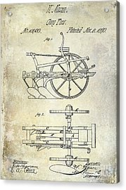 1870 Plow Patent Acrylic Print by Jon Neidert
