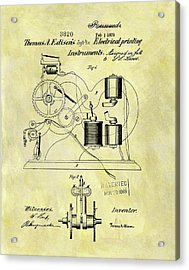 1870 Thomas Edison Patent Acrylic Print by Dan Sproul