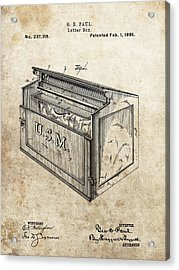 1881 Mailbox Patent Acrylic Print by Dan Sproul